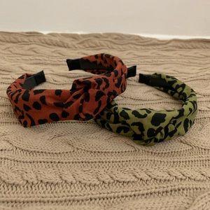 leopard top knot turban headband set